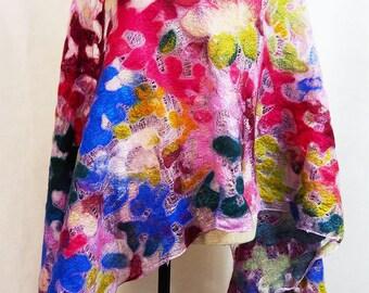 Red Blue Shawl Flower Pattern Felted Wool Shawl Nuno Felt Shawl