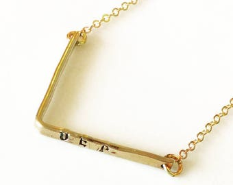 Gold Fill Bar Necklace. Gold Bar Necklace. Personalized Bar Necklace.