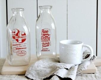 VINTAGE Quart Dairy Milk Bottle Farm Fresh Country Vase Jug