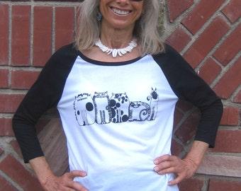 Womens Five Cats Baseball T Shirt