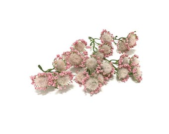 24 Pink Acacia Blossoms on Short Stems - Flower Crown, Halo, Woodland Crown, Artificial Flowers, Silk Flowers, Wedding Flowers, Millinery