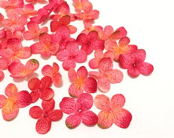 100 Artificial Fuchsia Yellow Pink Hydrangea Blossoms - Artificial Flowers, Silk Flowers, Hydrangea Petals, Wedding Flowers. Flower Crown