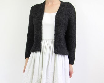 VINTAGE 1950s Cardigan Wool Dark Grey