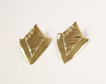 VINTAGE 1980s Big Earrings Gold Metal Pierced