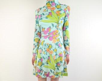 VINTAGE 1970s Flora Dress Short Blue Longsleeve