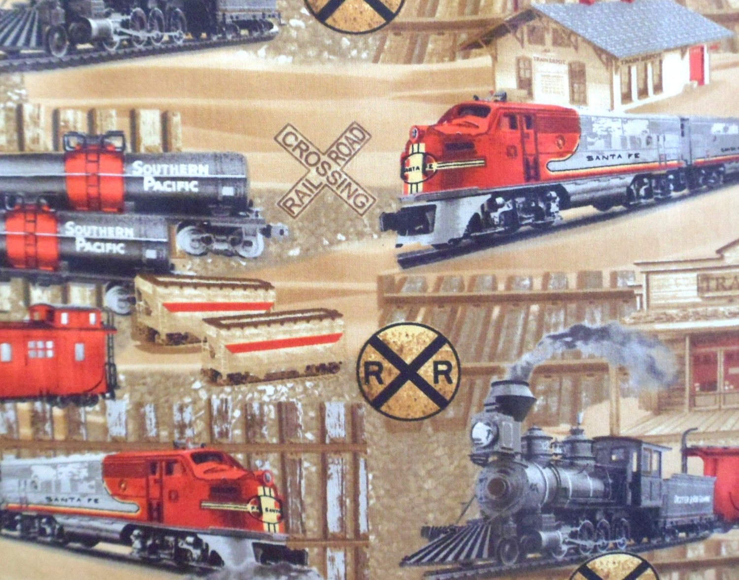 Train fabric railroad fabric rail yard cotton fabric sewing for Fabric with trains pattern