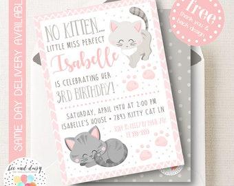 Kitten Invitation, Kitten Birthday Invitation, Kitten Birthday Party, Kitten Party Invitation, Girls Cat Party Printable Invite, BeeAndDaisy