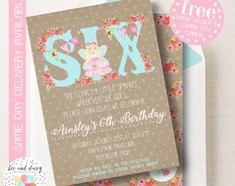 Fairy Invitation, Fairy Birthday Invitation, Fairy Party, Girls Fairy Birthday, Girl Birthday, Printable Fairy Invite, BeeAndDaisy