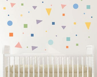 Girl room wall art Nursery Wall Decals, Pastel stickers, Polka dots, Square Decal, Triangle decals, Kids Wall Decal Modern Nursery Wall art