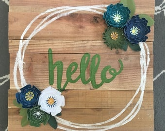 Hello - Wood & Paper Flower Sign