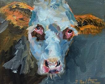 "Cow Painting, Cow Portrait, Original Oil Painting, Animal Portrait Small Painting, Miniature Mini Painting, 6X6"", Farm Animal, Gift Item"