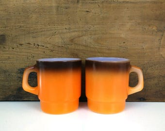 Fire King Stacking Mugs Ombre Orange Brown Coffee Cups