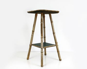 Vintage Weathered Bamboo Table / Plant Stand