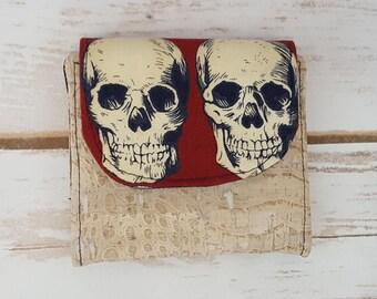 Mini Slimline Wallet - Skulls and Scale Cork