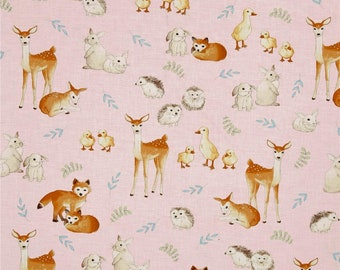 Kaufman Fawns & Friends Animals Pink; Nursery Decor, Crib Bedding, Baby Blankets, Curtains, Baby Bedding, Pillow Cases