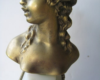 vintage art nouveau bronze tiffany bust candle holder on marble bass