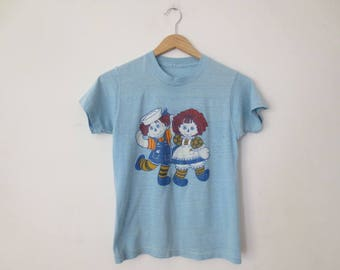 Vintage '70s Paper Thin Trashed Raggedy Ann & Andy T-Shirt, XS