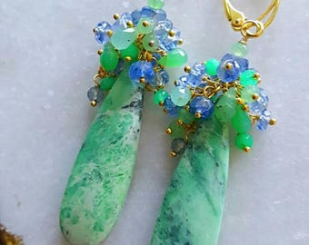 New! Green Turquoise with Chrysoprase and Kyanite Gemstone Cluster Drop Earrings Gift for Her Bridal Earrings