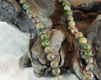 """Green pink unakite necklace 22"""" long granite 9mm beads rainforecious stone jewelry packaged in a gift bag 12226rest rhyolite semip"""