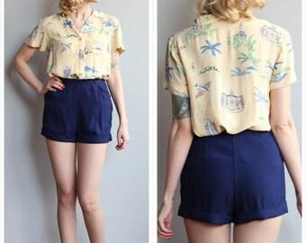 1940s Shorts // Navy Rayon Shorts // vintage 40s shorts