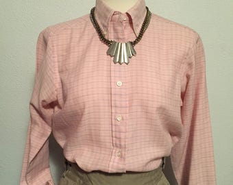 1980s pink LL Bean oxford Blue, white, pink button up