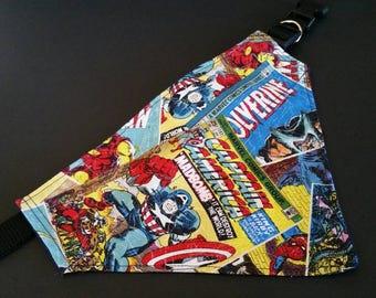 Marvel comics, dog bandana, over collar bandana, slip on bandana,  dog gift,