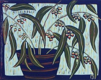 linocut, Eucalyptus, tree branch, pods, leaves, purple, vase, blue, green, seeds, flowers, printmaking, still life, home interior, country