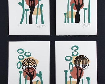 linocut, set of 4, trees, landscape, succulents, cactus, desert, orange, sand, green, black, trees, 4 prints, group of prints, printmaking