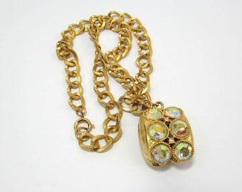 AB rhinestone choker necklace - large pendant on chain - goldtone - 1960s