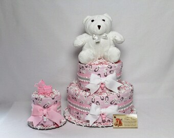 Baby Diaper Cake Teddy Bears Pink Girls Shower Gift or Centerpiece