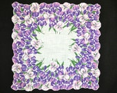 VINTAGE HANKIE Riot of Purple & White Daffodils on White Field Contoured Corded Hem Follows Flower Shape Excellent Condition Laundered Sized