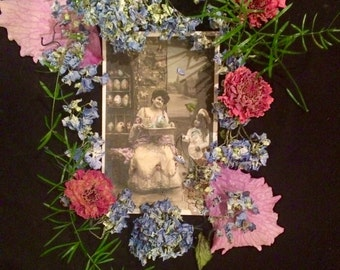 Antique Photo French Easter Postcard - Woman and Child - Stebbings - Vintage Photo - Easter Eggs