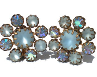 Frosted Blue Glass Clip Earrings with Aurora Borealis Rhinestone Accents - Vintage Jewelry