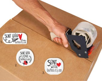 "Personalized ""SENT WITH LOVE"" stickers for your business or your celebrations. Packing Stickers. Set of 100"