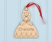 Wooden Princess Ornament: Cinderella Personalized Baby's First Christmas Fairy tale Theme, Girl