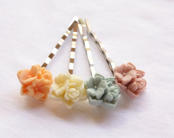 Bouquet Flower Hairpins, Blossom Spring Bouquet, Colorful Hairpins, Set of Four