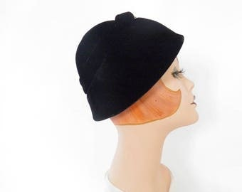 Vintage 1960s hat, black velvet bubble with rhinestones