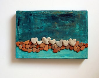 Pebble Art, Heart Rocks Mixed Media Art, MedBeachStone, Beach House Decor, 3d wall Art, Unique ooak Gift, New home housewarming gift, beach