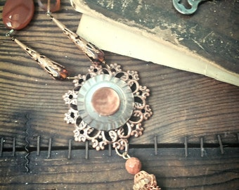 Long copper necklace - long pendant necklace -  Long beaded tassel necklace - vintage assemblage necklace - Upcycled necklace -