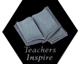 "Carved Glass ""Teachers Inspire"" Book Education Decorative Sun Catcher"