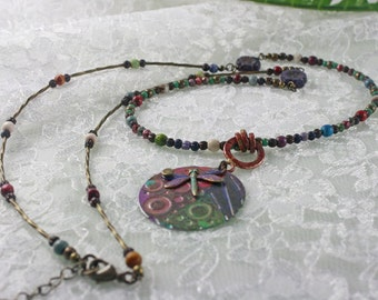 Necklace Unique Colorful with Raku Effect Dragonfly Pendant