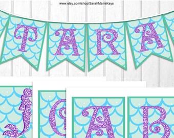 Printable Mermaid Banner on 8x11 300 dpi Sheet