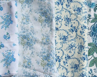 Bundle Vintage French Fabric Blue Floral material Summer Skies flowers