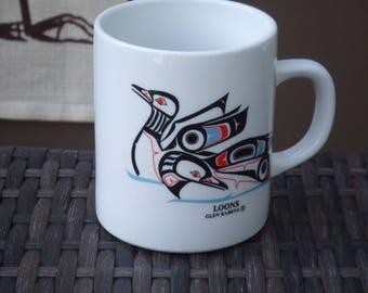 Vintage Native American Art Mug.  Made in Canada. Loons by Glen Rabena. Haida Art. Canadian Northwest Tribal Art.