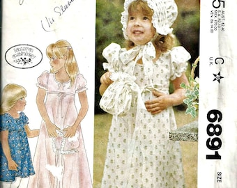 McCall's Pattern 6891 Laura Ashley Dress, Bonnet, Bag Size 4 1970's Vintage Flower girl's dress