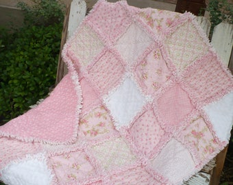 Baby Girl Rag Quilt Baby Crib Bedding Shabby Nursery Quilt Cottage Shabby Chic Pink Roses Ivory Minky Ready to Ship