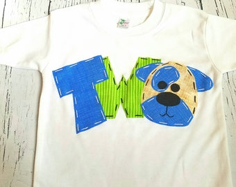 Puppy birthday shirt // two // 2nd, 1st, second // four, dog t shirt, blue, green