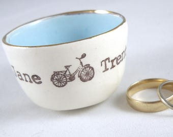 custom stamped bicycle or tandem wedding ring holder, bridal shower gift, mother's day gift or engagement ring dish, with custom color
