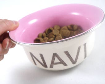 personalized SMALL CAT BOWL in 2 sizes, 14 color options, gold or silver rim - handmade ceramic earthenware pet food bowl with rubber bottom