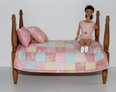 """HOLD FOR CAROL Small doll quilt sheet pillows for 7 to 12"""" dolls pink turquoise yellow retro children at play"""